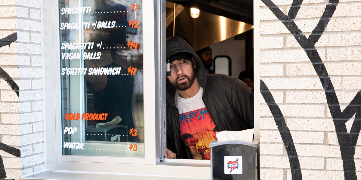 Eminem Surprised Fans at Mom's Spaghetti Grand Opening in Detroit