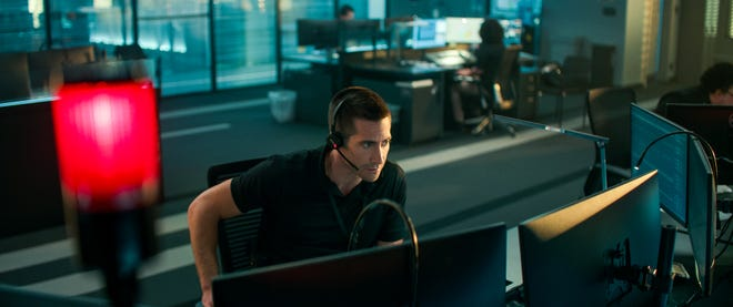 """Joe Baylor (Jake Gyllenhaal) is a 911 operator who takes a call that turns his night into chaos in the Netflix thriller """"The Guilty."""""""